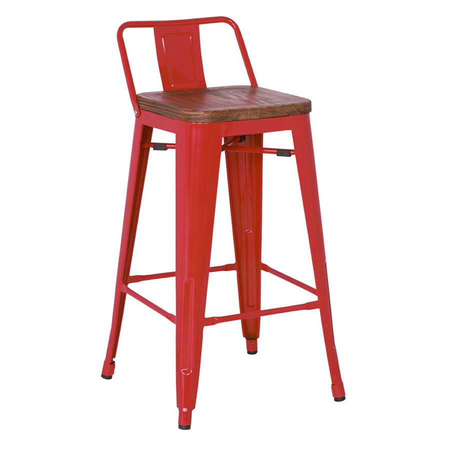 Metro Modern Red Low Back Counter Stool