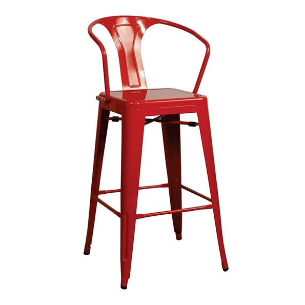 Metro Modern Red Metal Bar Stool
