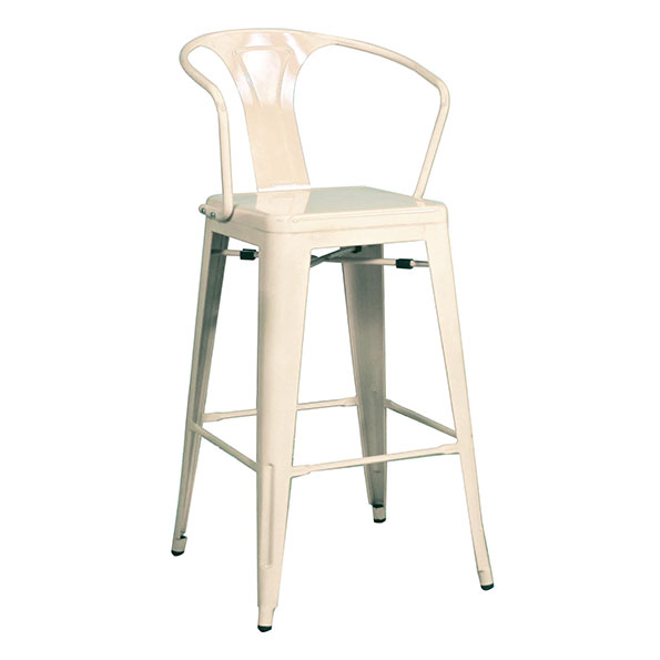 Metro Modern White Metal Bar Stool