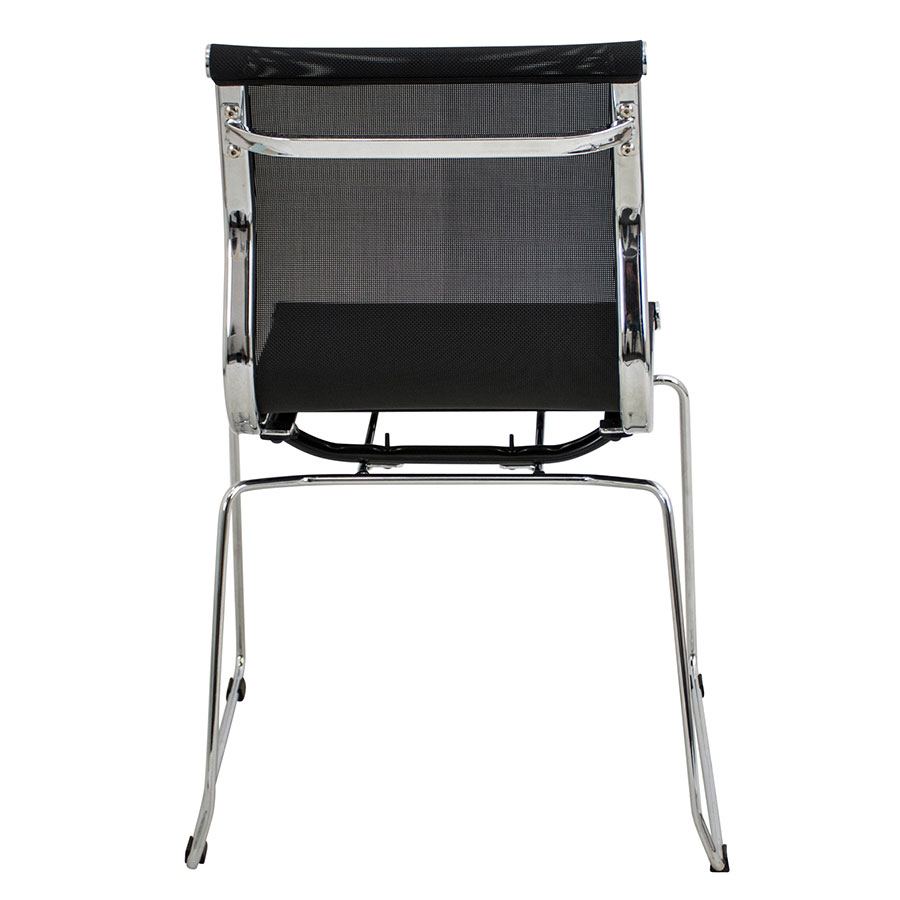 Midland Black Mesh + Polished Metal Modern Stacking Side Chair
