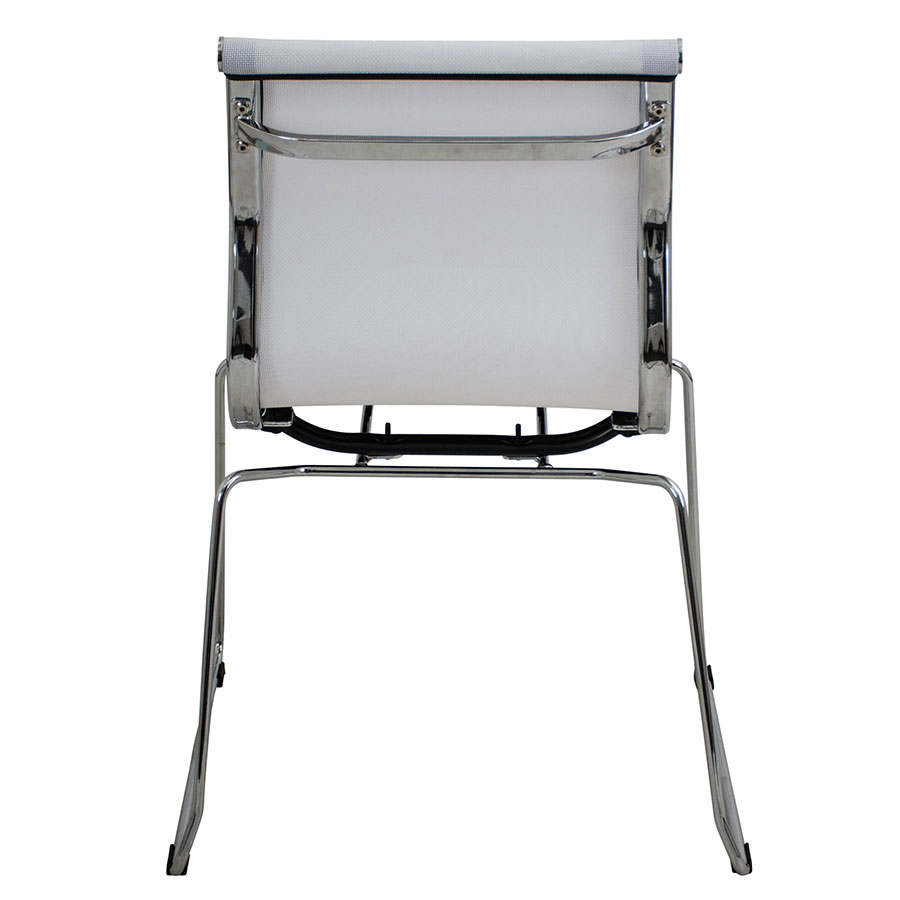 Midland White Mesh + Polished Metal Modern Stacking Side Chair