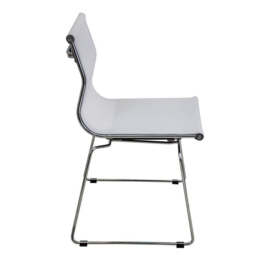 Midland White + Metal Modern Side Chair