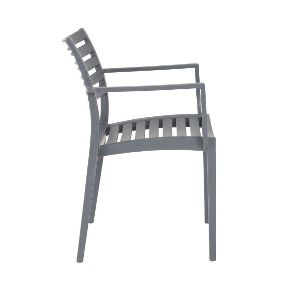 Milena Dark Gray Modern Stacking Arm Chair - Side View