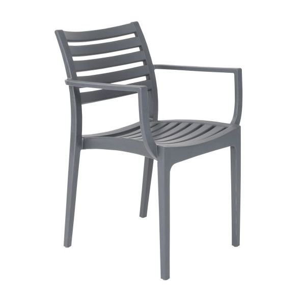 Milena Dark Gray Modern Stacking Arm Chair