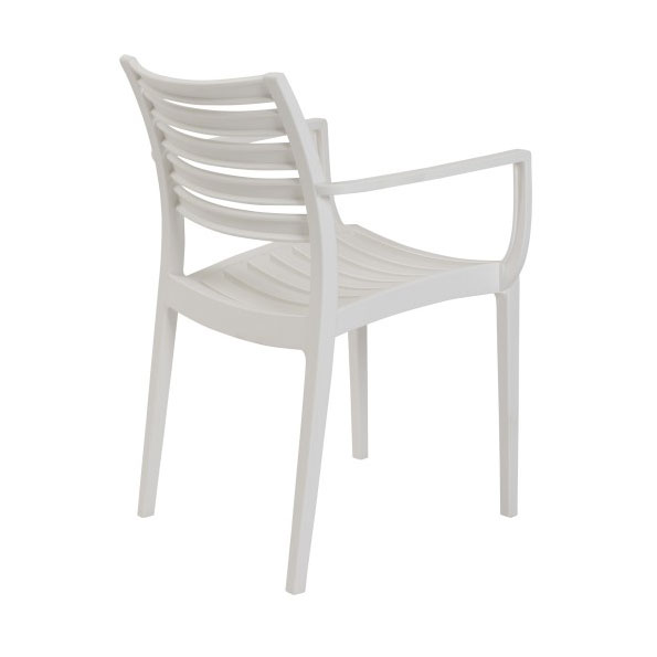Milena White Modern Stacking Arm Chair - Back View