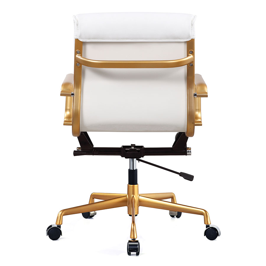 Mindy White + Gold Contemporary Office Chair