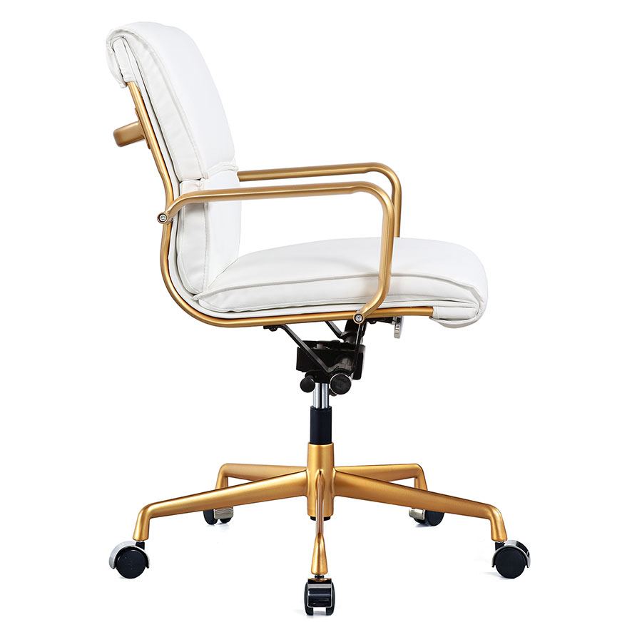Mindy White + Gold Modern Office Chair