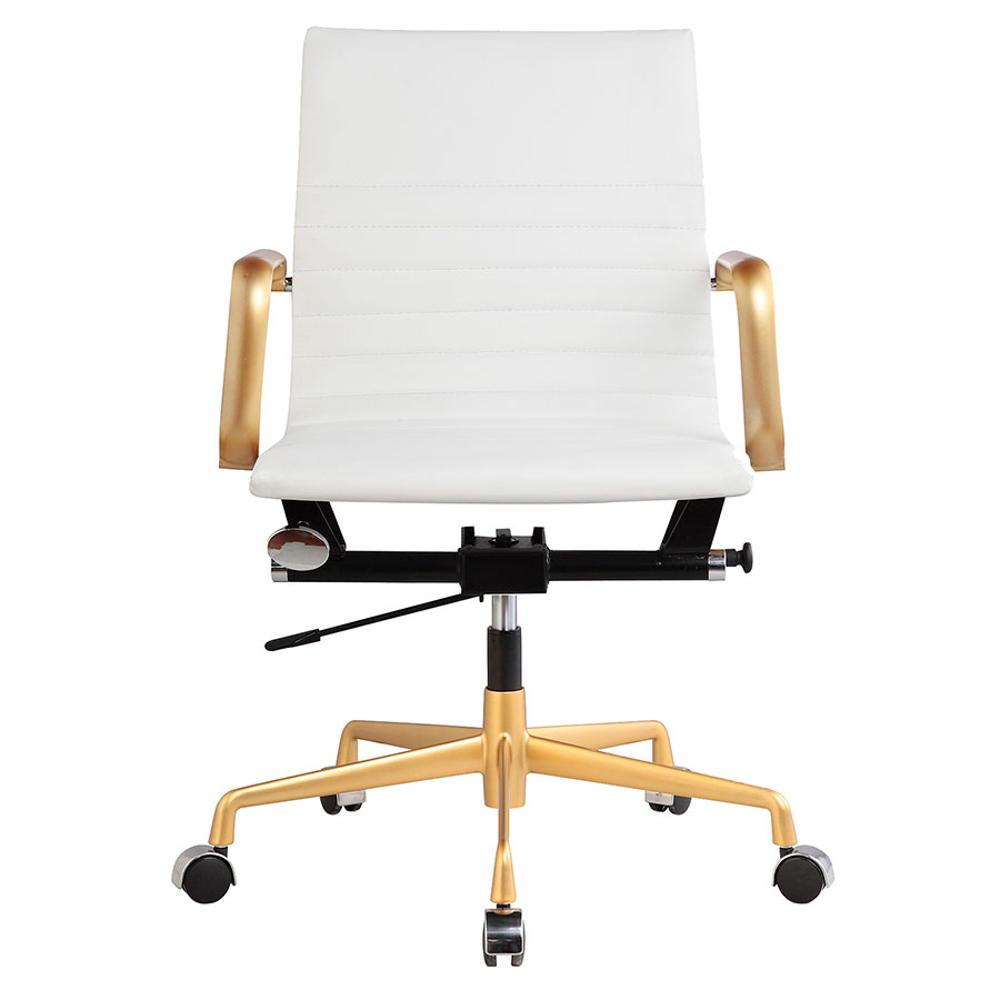 Mirana White + Gold Contemporary Office Chair