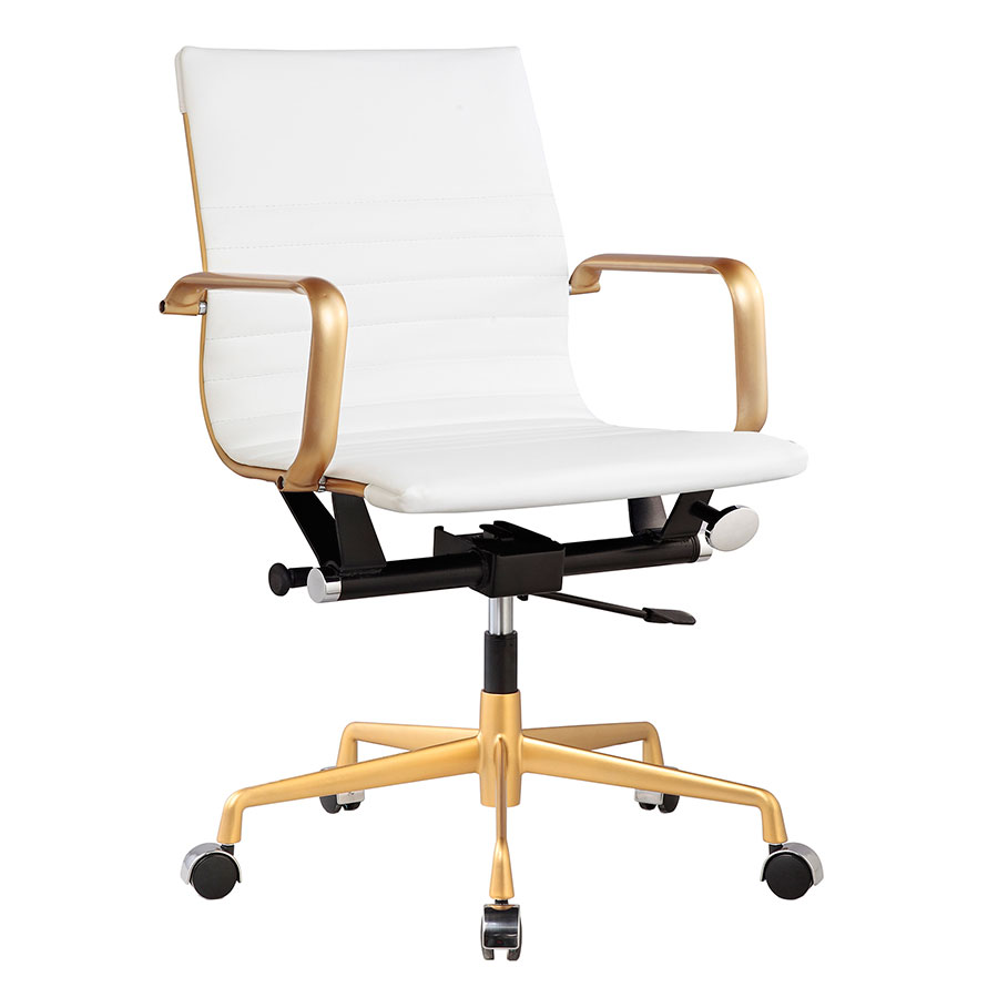 Mirana White + Gold Modern Office Chair