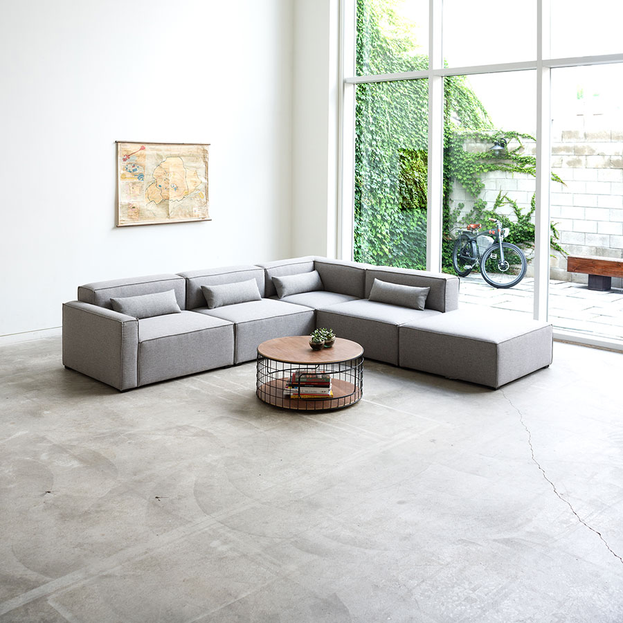 Mix Modular 5 Piece Sectional in Parliament Stone by Gus* Modern Room