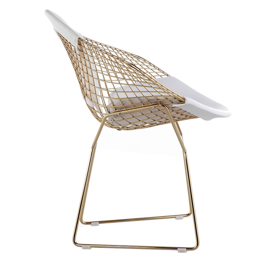 Moina Modern Gold + White Lounge Chair