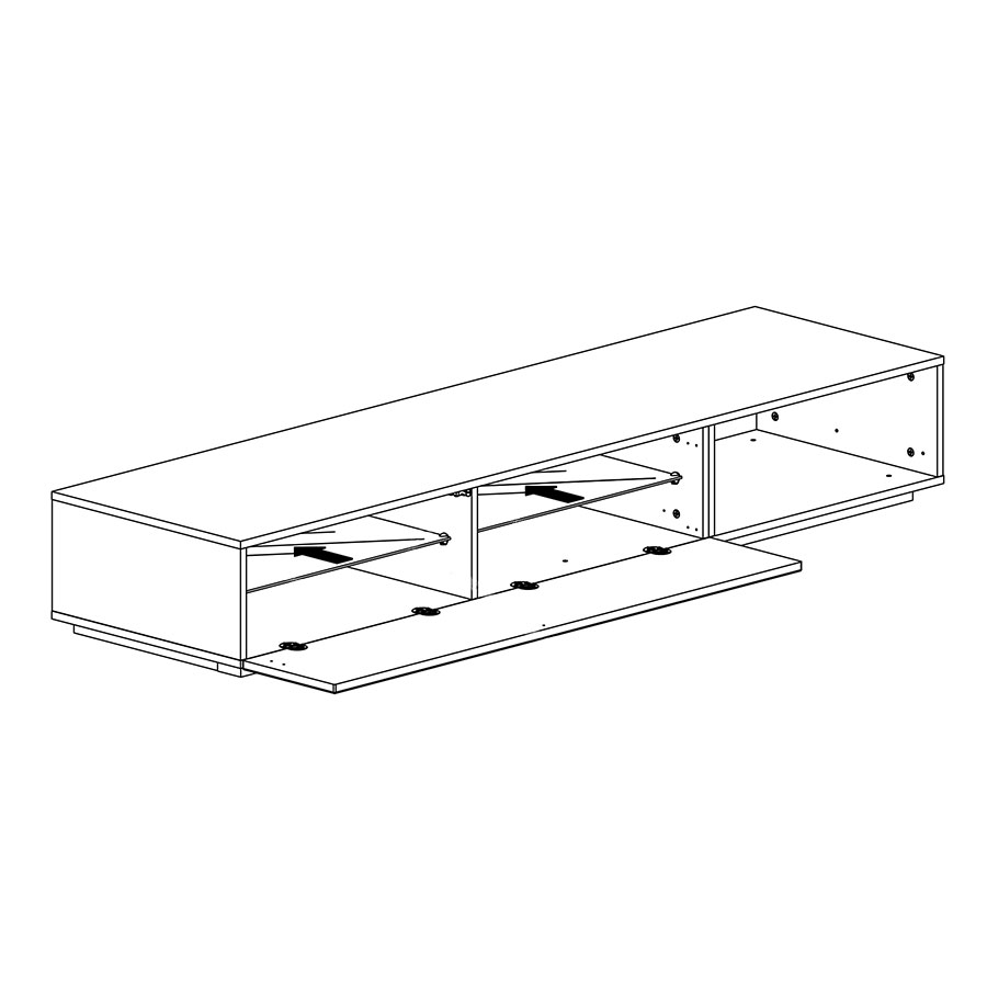 Mona Modern TV Stand - Fold Down Door Detail
