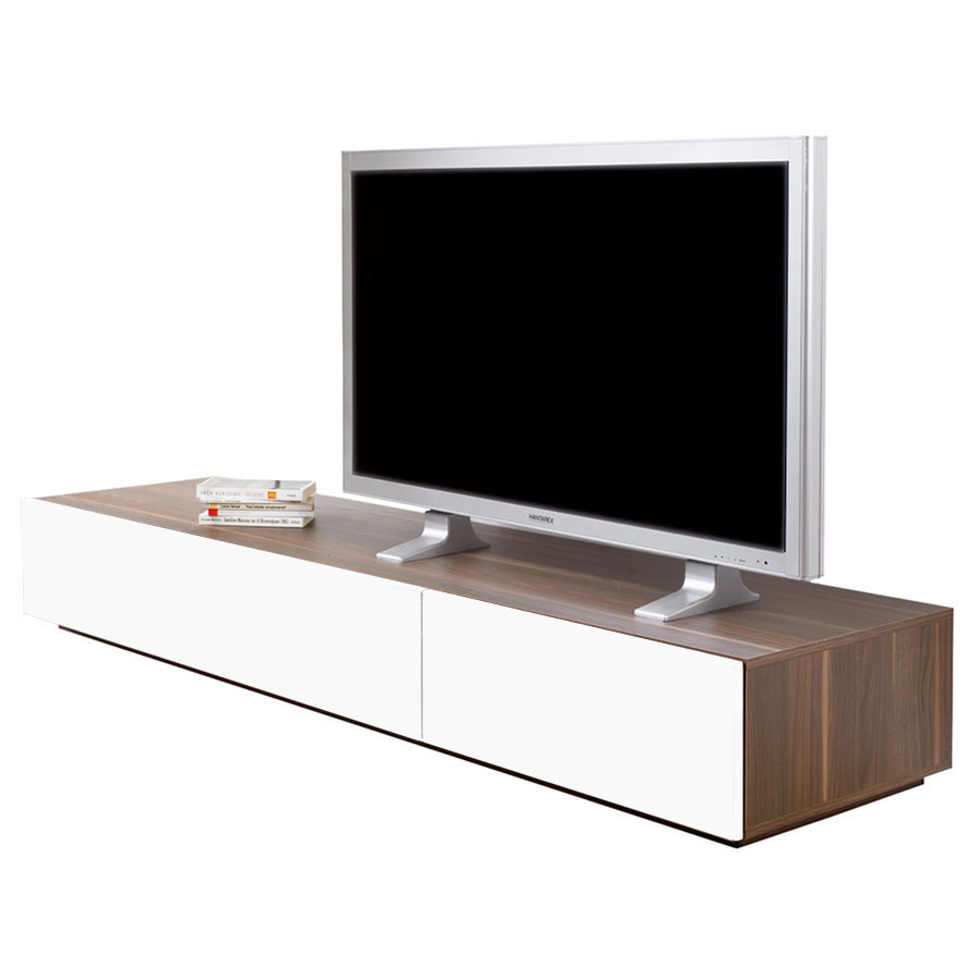 Mona Modern Walnut + White TV Stand