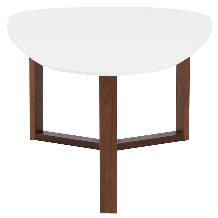 Morty White + Walnut Modern Cocktail Table