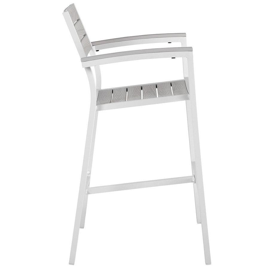 Murano White Modern Outdoor Bar Stool - Side View