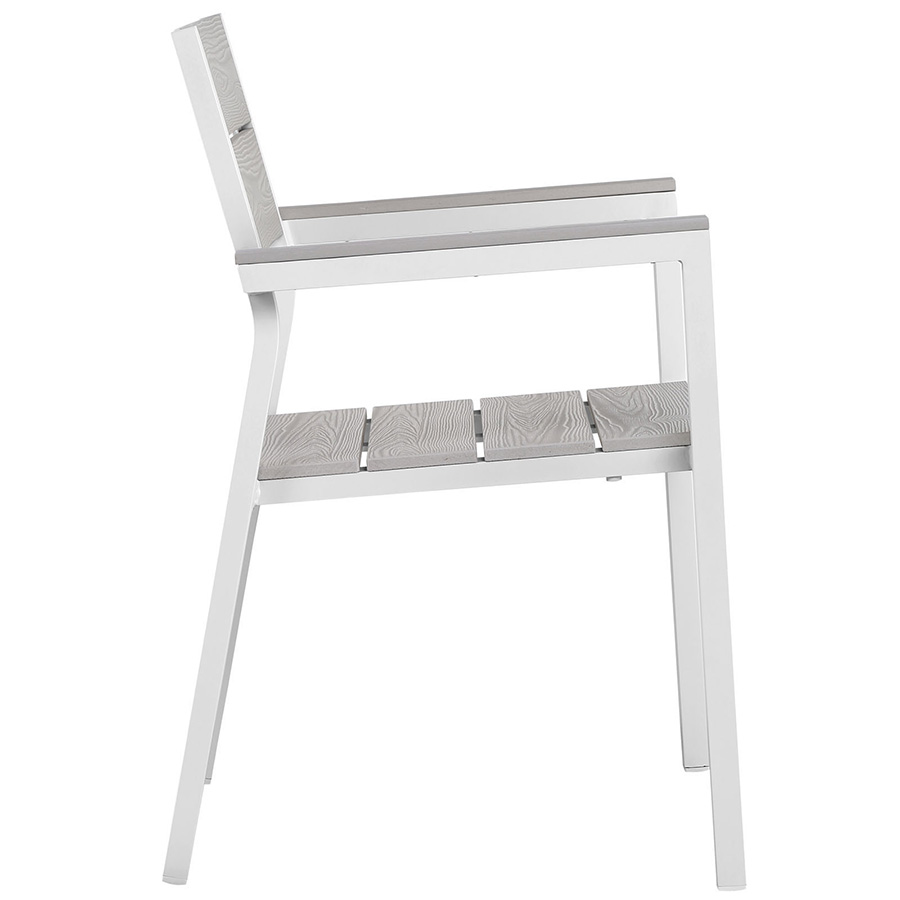 Murano White Modern Outdoor Dining Chair - Side View