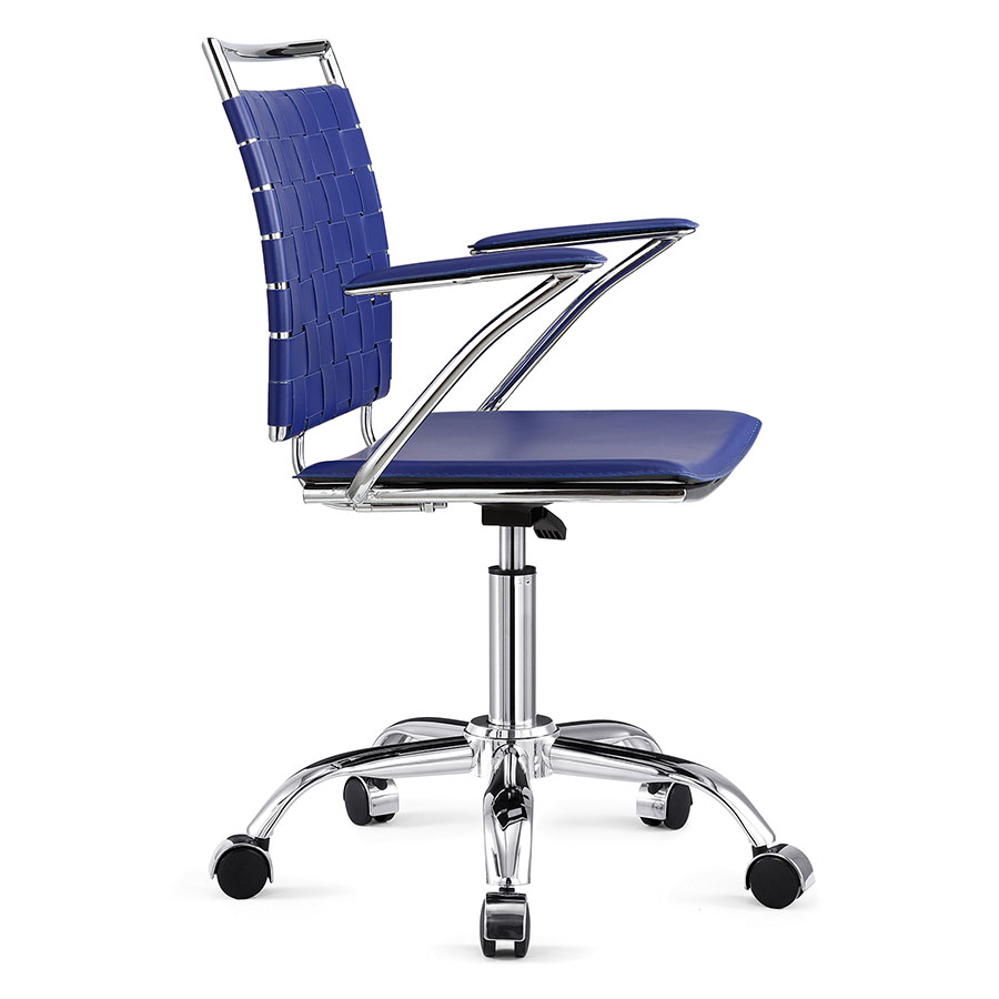 Murdoch Blue + Chrome Modern Office Chair