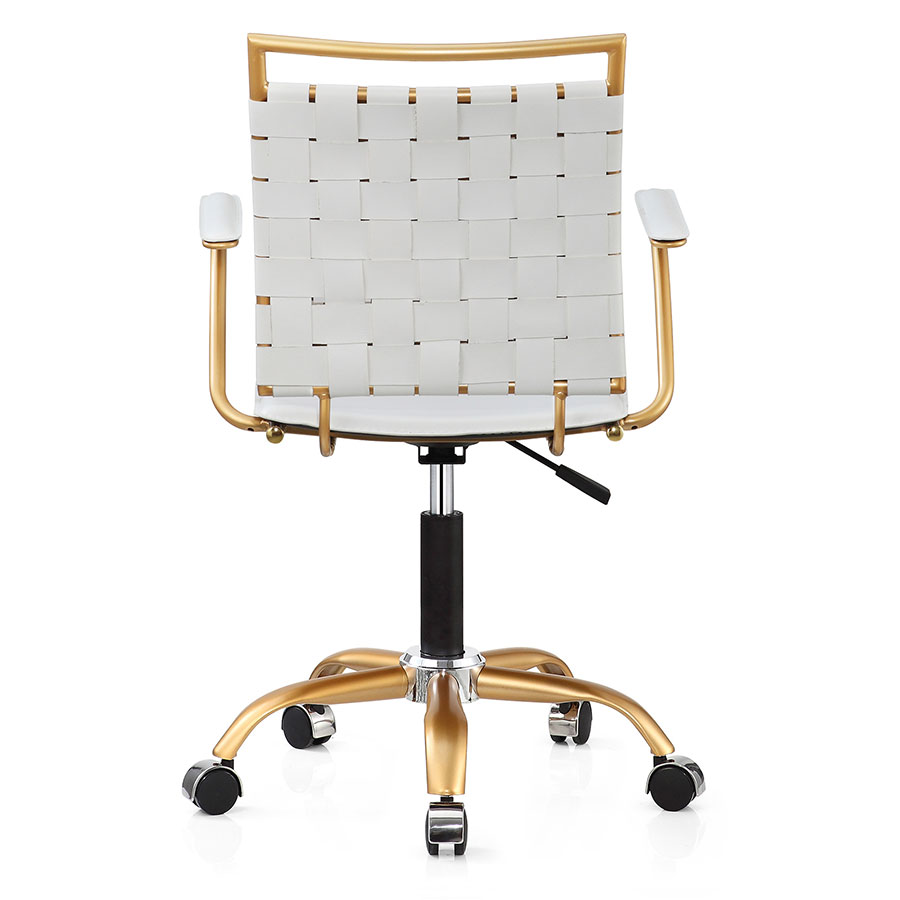 Murdoch White + Gold Contemporary Office Chair