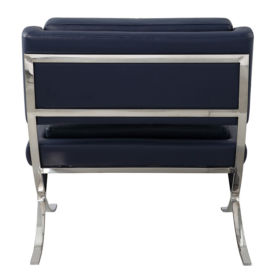 Muriel Navy Italian Leather Contemporary Lounge Chair