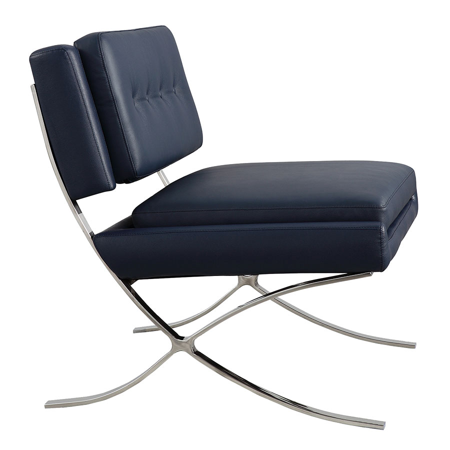 Muriel Navy Italian Leather Modern Lounge Chair