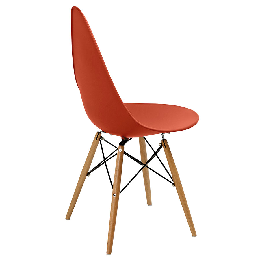 Myron Orange + Wood Modern Side Chair