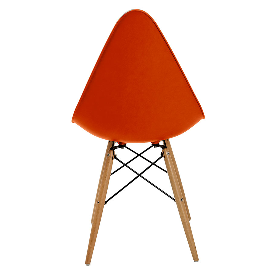 Myron Orange + Wood Contemporary Side Chair