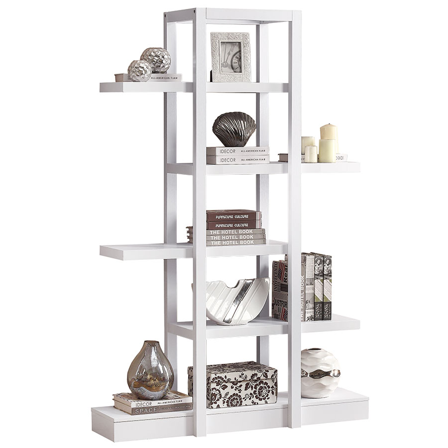 Nadia Modern White Book Shelf