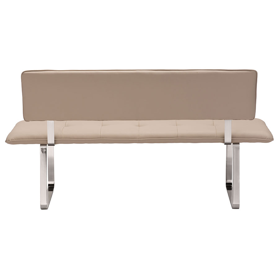 Nadia Taupe Leatherette Contemporary Dining Bench
