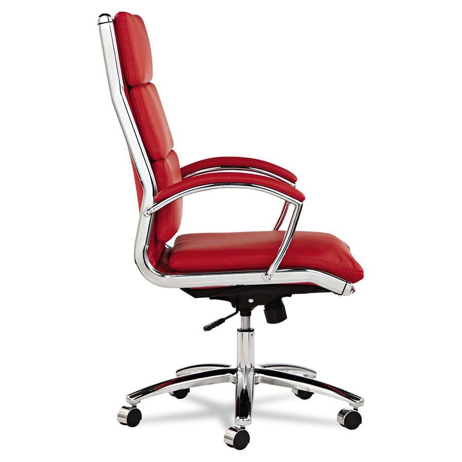Napoli Red High Back Modern Office Chair - Side View