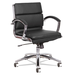 Napoli Black Modern Leather Low-Back Office Chair