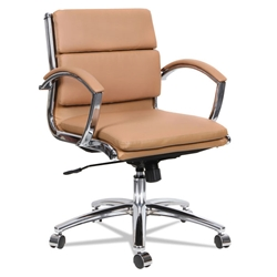 Napoli Camel Modern Leather Low-Back Office Chair