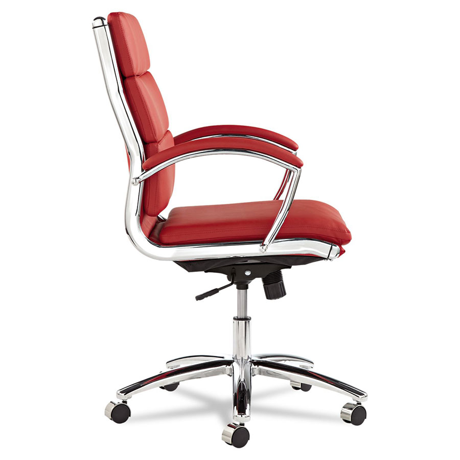 Napoli Red Mid Back Modern Office Chair - Side View