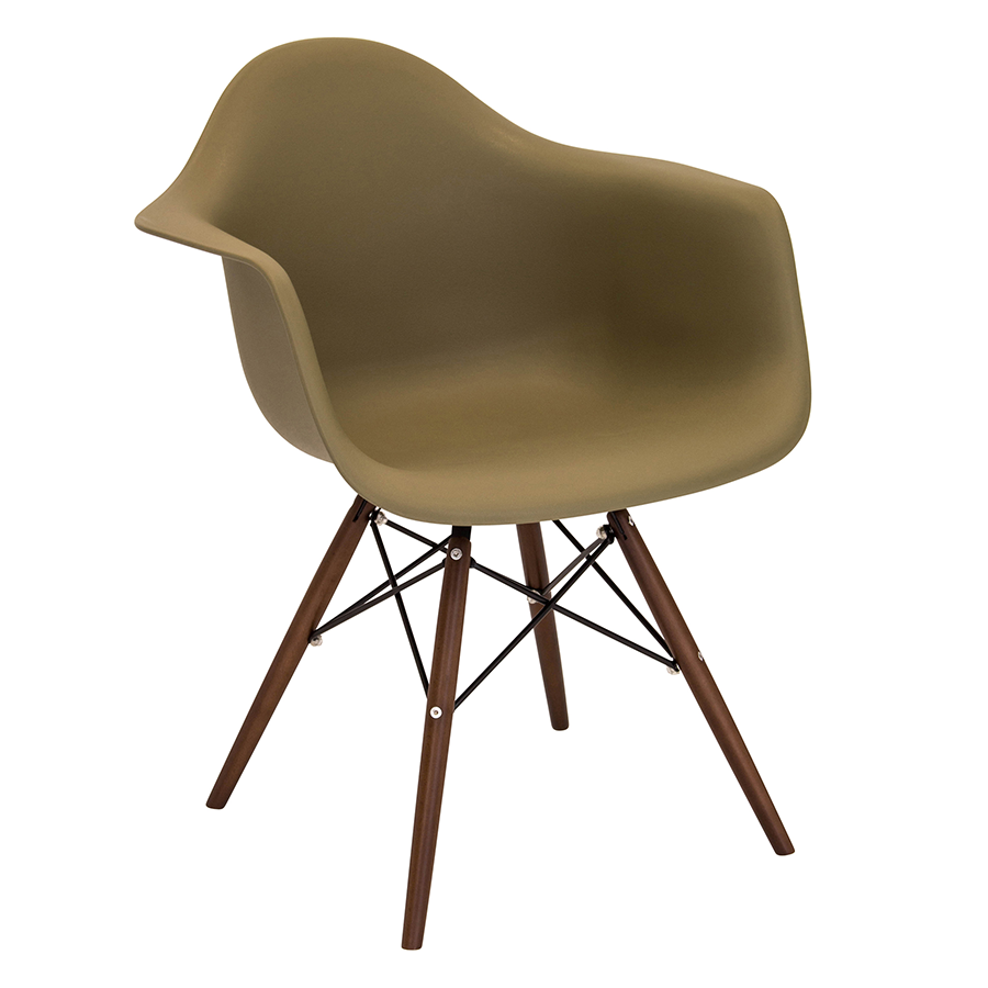 Nashua Olive + Espresso Modern Arm Chair