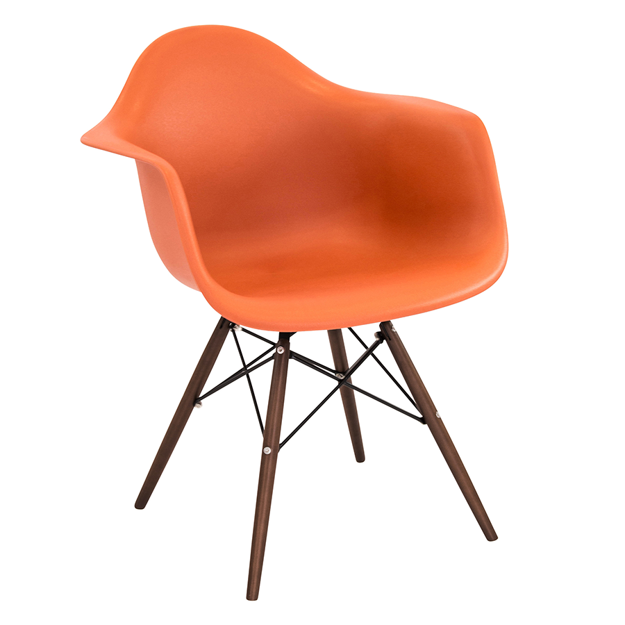 Nashua Orange + Espresso Modern Arm Chair
