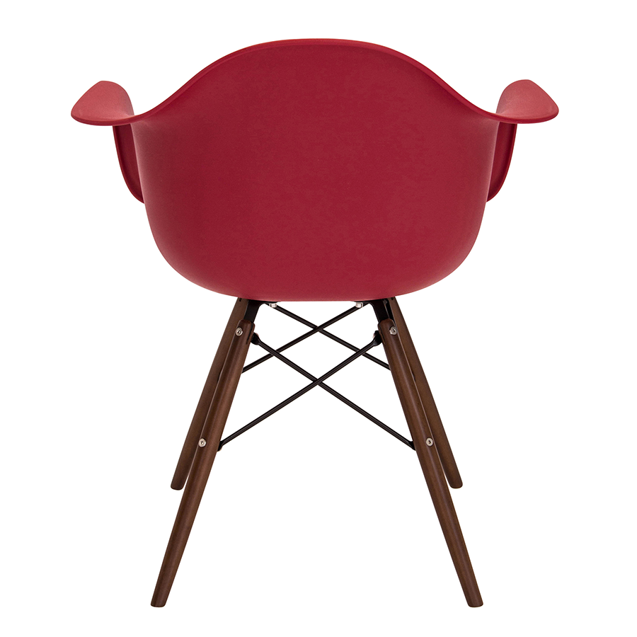 Nashua Red Polypropylene + Espresso Wood Modern Arm Chair