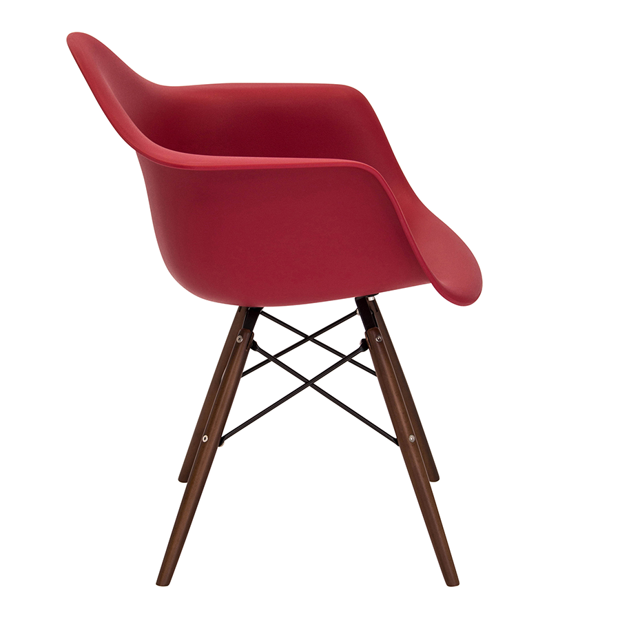 Nashua Red Polypropylene + Espresso Modern Arm Chair