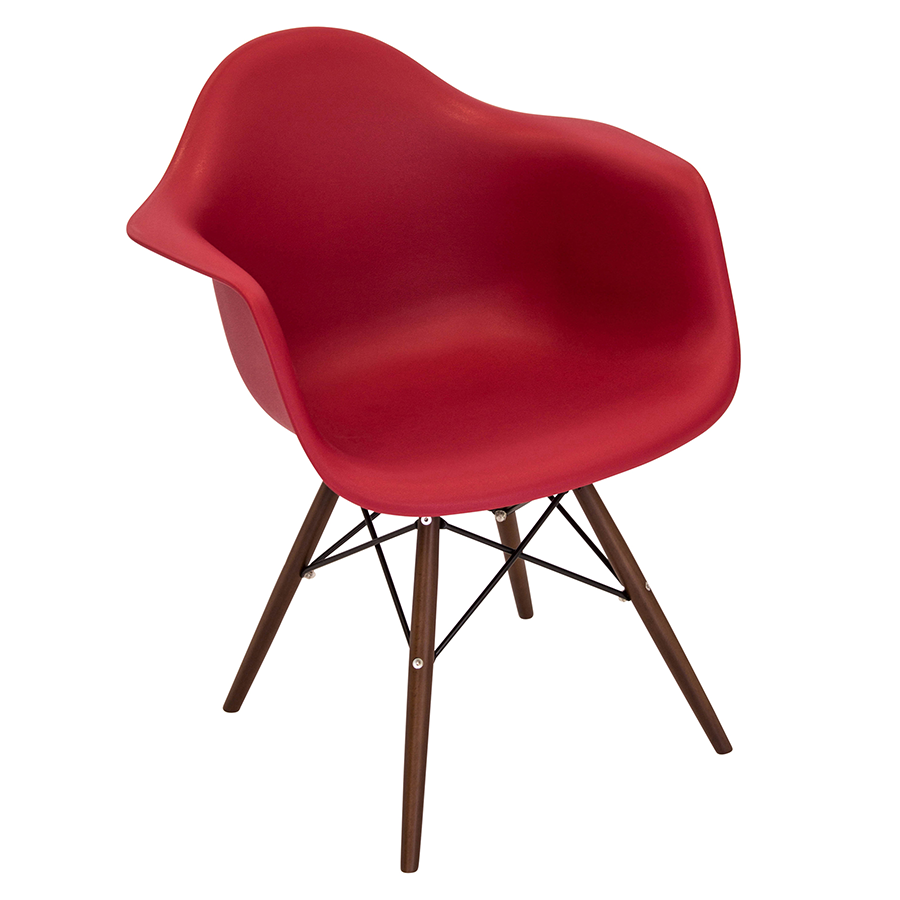 Nashua Red Plastic + Espresso Wood Modern Arm Chair
