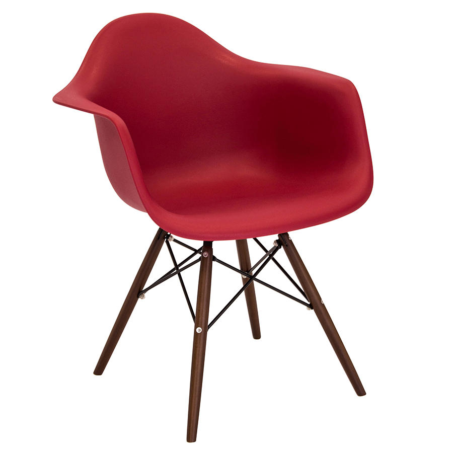 Nashua Red + Espresso Modern Arm Chair