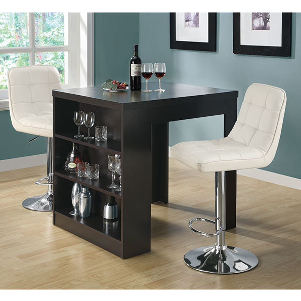 Natahsa Contemporary Cappuccino Counter Table w/ Storage
