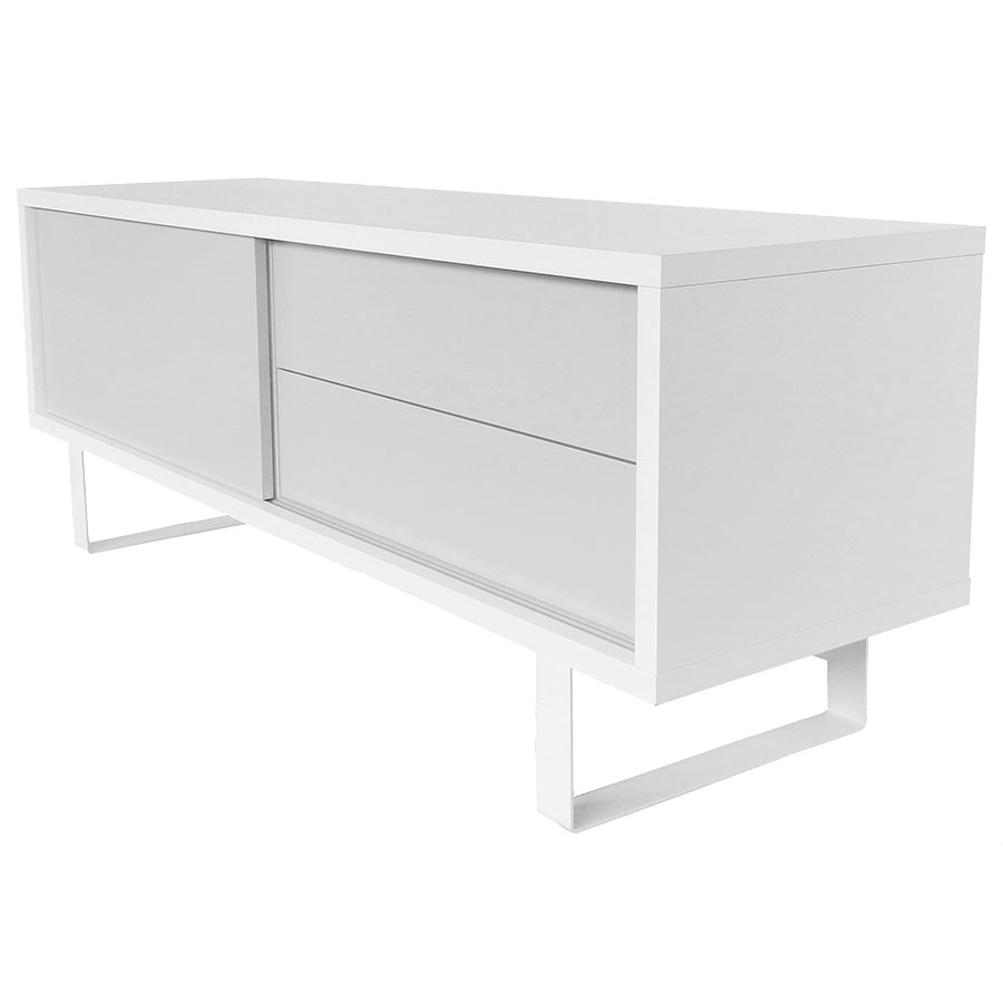 Nilo white gray tv stand by temahome eurway for Meuble salle de bain porte coulissante blanc