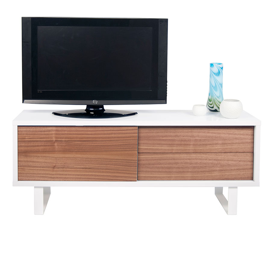 Nilo White + Walnut Contemporary TV Stand Front Dressed