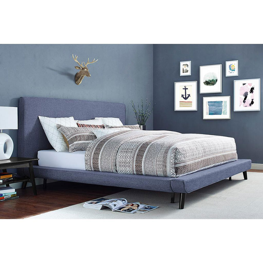 Nord Contemporary Blue Linen Platform Bed