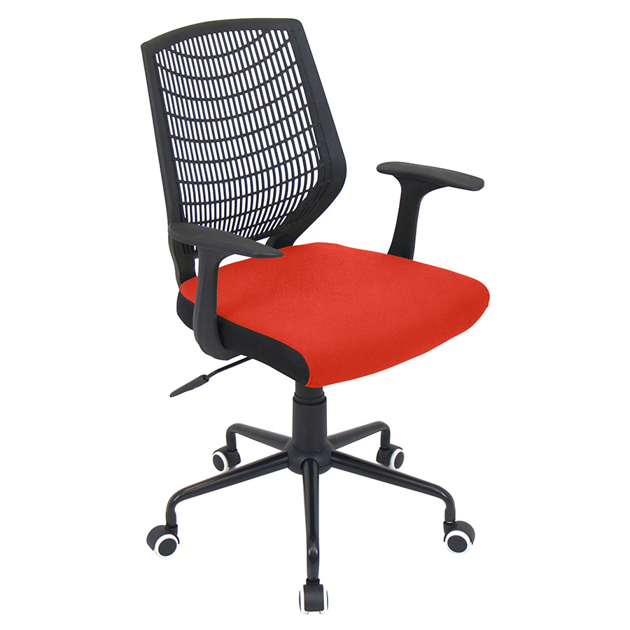 Norfolk Black + Red Modern Office Chair