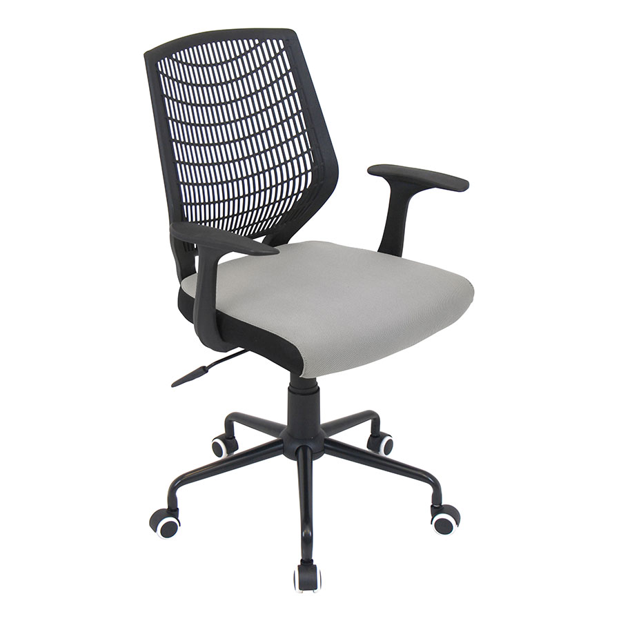 Norfolk Black + Silver Modern Office Chair