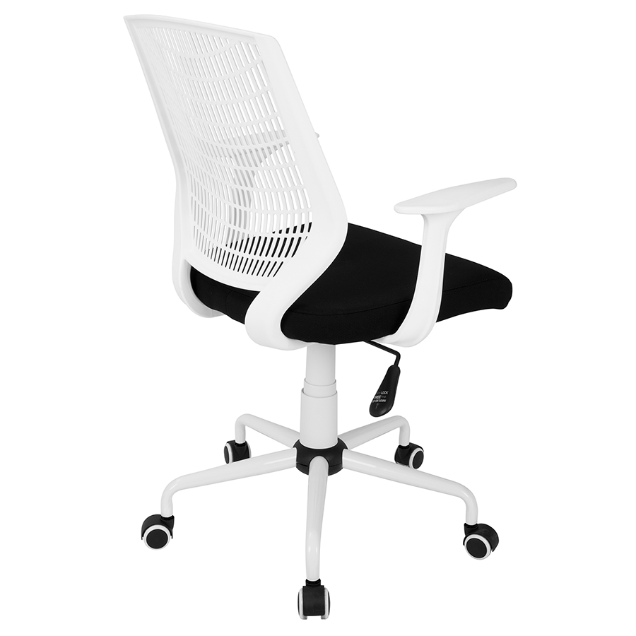Norfolk White Frame + Black Fabric Contemporary Office Chair
