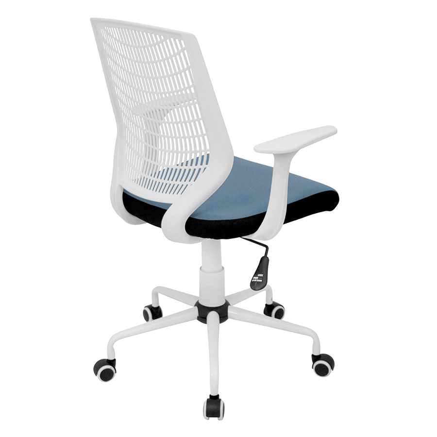 Norfolk White + Blue Mesh Contemporary Office Chair