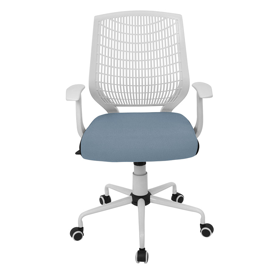 Norfolk White + Blue Contemporary Office Chair