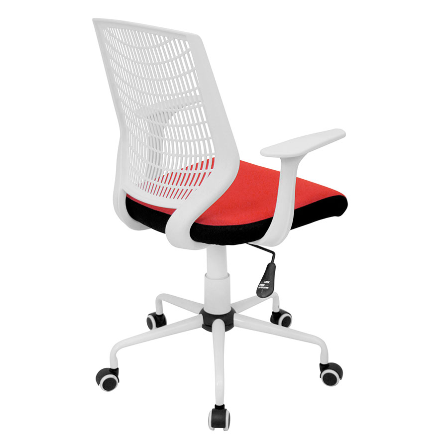 Norfolk White + Red Mesh Contemporary Office Chair