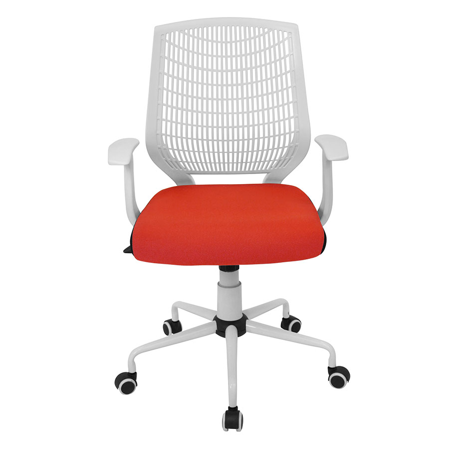 Norfolk White + Red Contemporary Office Chair