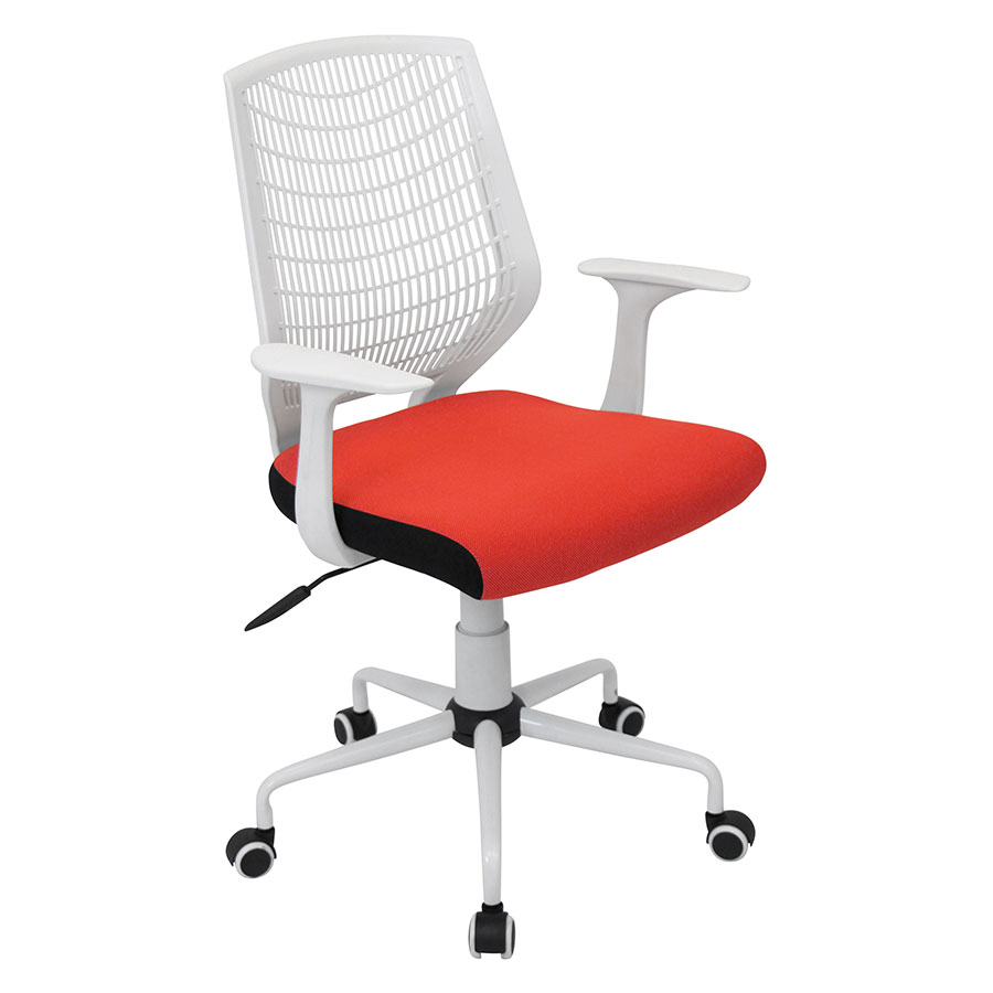 Norfolk White + Red Modern Office Chair